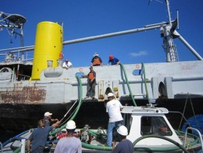 Preparing the Kittiwake to sink 2011